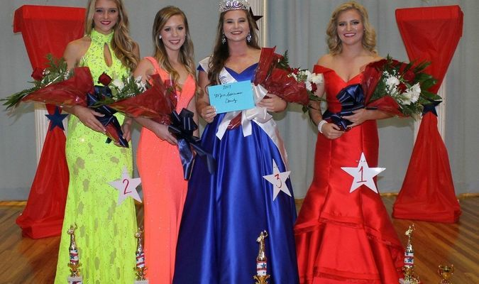 "6.	Miss Arkansas County, Carly Watkins, and her court. (left to right) 2nd runner up Hannah Ward, 3rd runner up Katelynn Stroh, Miss Arkansas County Carly Watkins, 1st runner up, photogenic, and interview Caitlyn ""Abbey"" Baker."