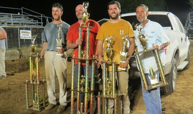 Derby winners (left to right): 2nd Place, Collin McFerrin; 1st Place, Ricky Rone; Mad Dog/Best Driver, Marcus Todd; 3rd Place, Bart LaCotts