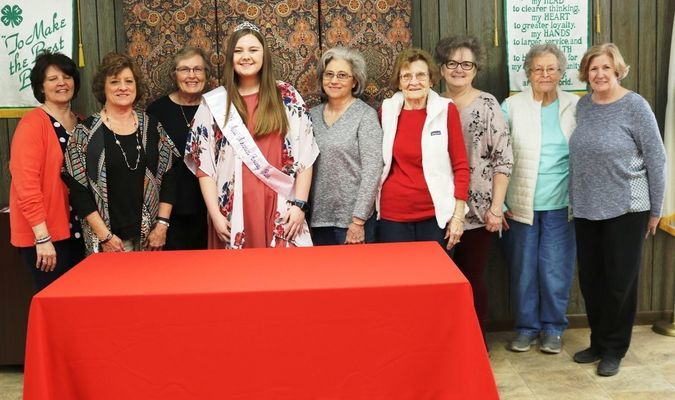 The Prairie Gems Extension Homemakers Club extend their congratulations to the 2018 Miss Arkansas County Rice - Sydney Dumond. From left to right: Alta Lockley, Onita Watson, Shirley Fread - President, Dumond, Vickie McLain - Vice President, Gladys Hearn, Charlene Fread, Elizabeth Criswell, and Sandra Webb.