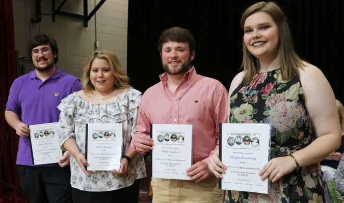 The four scholarships awarded to Stuttgart High School Seniors go to: Riley Williams, Kielee Sherman, Blake Sanders, and Maggie Armstrong.