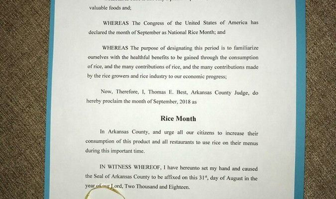 Arkansas County Rice Month Proclamation