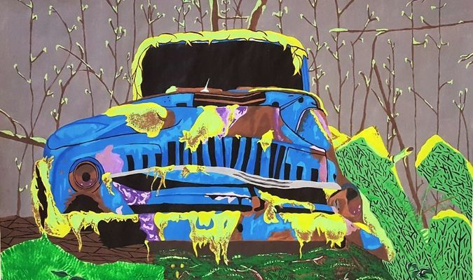 "An acrylic painting by Ashlynne Jenkins, entitled ""Old Car in the Woods"" was accepted into the 58th Young Arkansas Artist Exhibition at the Arkansas Arts Center."