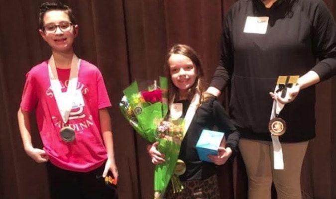 2nd place winner-Mitchell Eggerman, Gillett Elementary; Winner-Calli Barnard-Park Ave. Elementary (Stuttgart); and 3rd place winner-MackinzeeGibson, Stuttgart Jr. High School