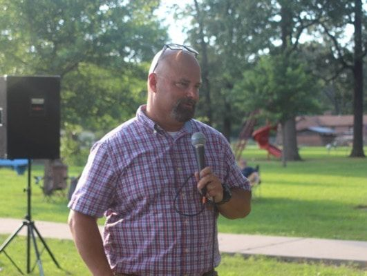 Arkansas County Sheriff Todd Wright speaks at the Stuttgart Unity Peace Rally, held in June, addressing racism and police accountability.