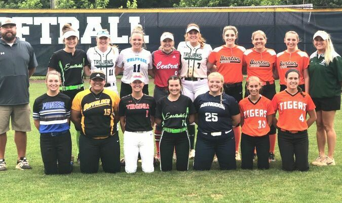 The West all-star team (from left to right, standing): Virginia High head coach Andrew Belcher, Eastside's Anna Whited, John Battle's Ellie Keene, Ridgeview's Laci Williams, Central's Maggie Shell, John Battle's Logan Leonard, J.I. Burton's Beylee Jenkins, Kali Durham and Bailey Sturgill and John Battle head coach Hannah Cress; Thomas Walker's Kaitlyn Brown, Floyd County's Olivia Yates, Virginia High's Harley Holmes, Eastside's Maggie Odle, Abingdon's Presleigh Miller and Honaker's Abi Bostic and Sommer Honaker.