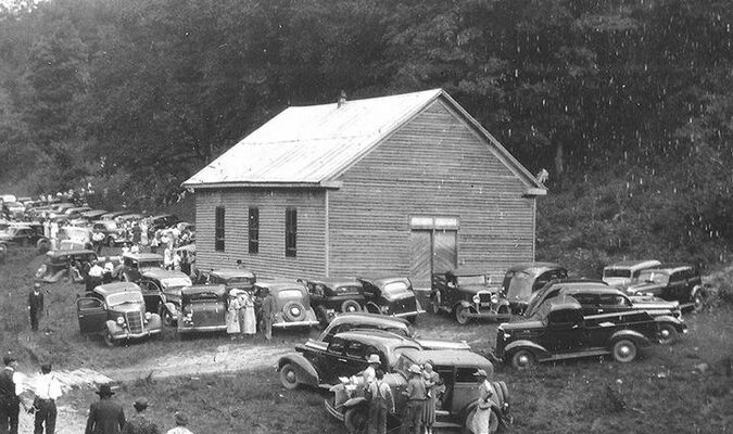 The Sand Lick Primitive Baptist Church was established on February 25, 1837. The first church building was a small log structure.The second structure was built in 1896 and is pictured above.This photo was taken in 1937 and was found among the photos of E. J. Sutherland which are archived with the Dickenson County Historical Society.