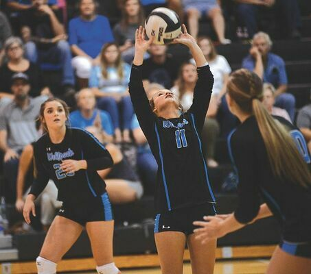 Kassidy Rasnick settles the ball for the Ridgeview front line. PHOTO BY KELLEY PEARSON