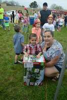 Julian Sanchez of Fulton had his ticket drawn for the prize trike, in the boys' age birth to 3 division of the hunt.
