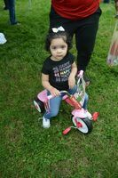 Nai Brown, 3, of Mayfield, held the winning ticket drawn for a trike, in the girls' age birth to 3 category of the hunt.