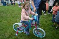 Reese Galloway, 5, of South Fulton, had her ticket drawn for a bike, in the girls age 4-6 category on Saturday at the Egg Hunt.