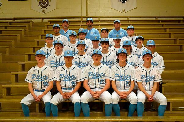 FCHS 2021 BASEBALL TEAM – Fulton County High School Baseball team members include from left, front row, Thorne Massey, Bentley Johnson, Drake Manus, Hayden Murphy and Will Jackson; second row, Luke Jackson, Quinn Lyons, Jay Sipes, Logan Johnson, and Chade Everett; third row, Nesota Perez, Max Gibbs, Carson Parker, J. C. Parker, and Logan Griffiths; fourth row, Dylan Hammond, Tevin Hammond, Cooper Scott, and Braxton Bridges; and back row, Coach Wes Moore, Coach Jason Sipes, and Coach Larry Manus. (Photo by Barbara Atwill)