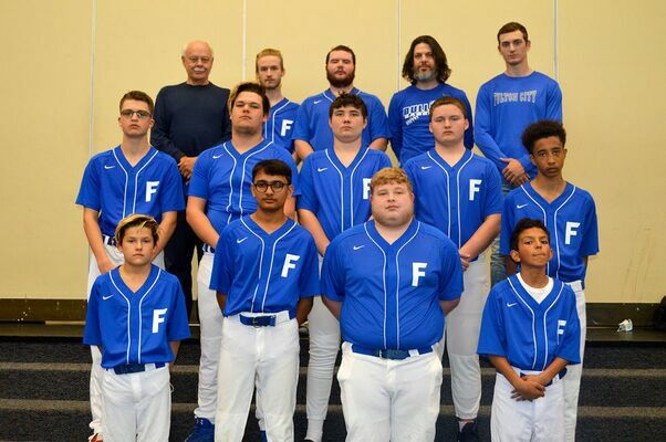 """2021 FULTON HIGH SCHOOL BOYS' BASEBALL TEAM – Front row, left to right, Dalton Blankenship, sixth grade, Krish Patel, 11th grade, Joseph Baker, eighth grade, Javarious Gholson, seventh grade; middle row, left to right, Charlie Cavness, eighth grade, Blake Blankenship, 10th grade, Christian Sproul, ninth grade, Tristan Lalley, 10th grade; TaZiyah Ware, ninth grade; back row, left to right, Don """"Pop"""" Mason, Assistant Coach, Matthew Hicks, 12th grade, Blake Nicholas, 12th grade, Head Coach Chris Mason.  Team members Travail Morgan and William Price were not pictured. (Photo by Benita Fuzzell)"""