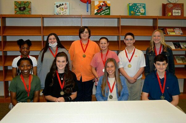 SOUTH FULTON MIDDLE SCHOOL ACADEMIC TOP TEN, SEVENTH GRADE – Back row, left to right, Zoe Adams, Jillian Whitlow, Trey Jackson, Jadyn Rushin, Ben Swift, and Caroline Barclay; front row, left to right, Journee Puckett, Jentry McConnell, Piper Lusk, and Jackson Doss.  (Photo by Benita Fuzzell)