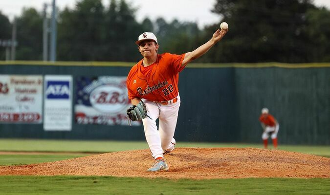 RAILROADER ROLL – Fulton Railroader Bode Gebbink makes the pitch in the home field win against Franklin, 7-2, amid a nine game winning streak. (Photo by Jake Clapper)