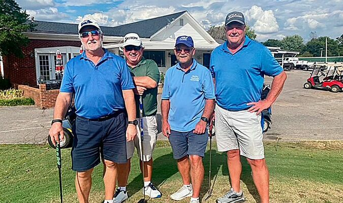 """KEG CLAIMS CHAMBER'S SCRAMBLE CROWN – The Keg Bar & Grill won $250 after claiming the championship spot for the Twin Cities' Chamber of Commerce annual fundraiser golf tournament Oct. 2 at Fulton Country Club. Pictured left to right are team members Randy Mann, Pat Gossum, Hoyt Moore, and David Hutchins. The 4 person Scramble is a fundraiser for the Chamber and helps fund community and chamber projects throughout the year. """"The Chamber greatly appreciates all the businesses and individuals that participated by either playing, sponsoring a hole or donating,"""" said Chamber Executive Director Thea Vowell (Photo submitted)"""