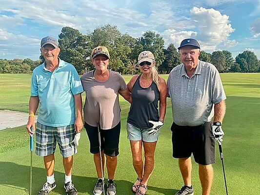 SECOND PLACE FINISH – The Hurt Team won $100 for their second place finish in the Twin Cities' Chamber annual golf tournament fundraiser Oct. 2. Pictured left to right are team members Mickey Brockwell, Pam Wright, Beth Easterwood and Terry Beadles. The 4 Person Annual Golf Scramble is a fundraiser held each year at Fulton Country Club to assist in funding Chamber projects and operations. (Photo submitted)