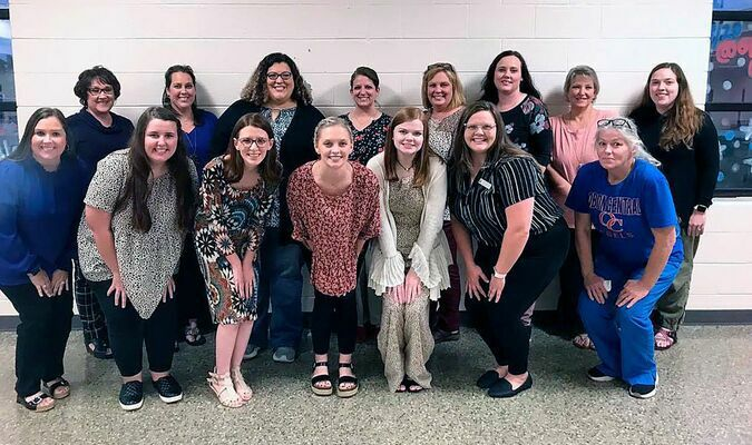 obion county school system treats new employees – Pictured are, new employees in the Obion County School System honored with a reception prior to the Oct. 4 School board meeting, front row, left to right, Lindsey Gidcumb, Madison Pitts, Janet Hailey, Carson Jones, Marlee Wicker, Lauren Kendall, Belinda Hill; back row, Beverly Gidcumb, Susan Sullivan, Dallas Gurley, Candace Thweatt, Tracey Malone, Kim Wade, Billie Jean Molands, and Sara Hester. (Photo submitted)