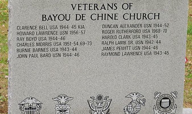 Pictured is the recently dedicated monument honoring Veterans who are, and were members of Bayou de Chine Cumberland Presbyterian Church. (Photo submitted)