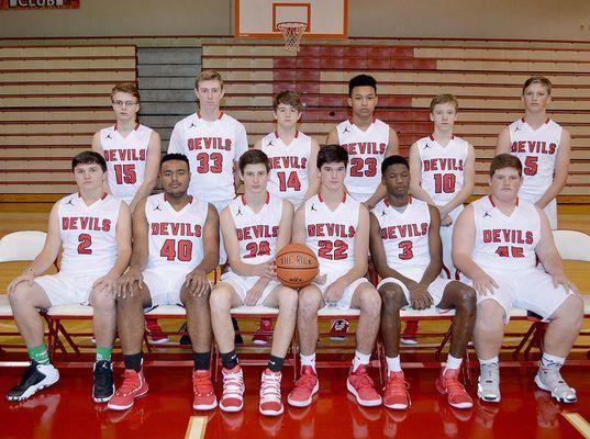 2018-2019 SOUTH FULTON HIGH SCHOOL RED DEVILS BASKETBALL TEAM – This year's Red Devils basketball team members include seated, left to right, Eli Carlisle, sophomore, Jalen Cross, sophomore, Rider Whitehead, sophomore, Brock Brown, sophomore, Dashun Bradshaw, senior and Jaden Knott, sophomore; back row, left to right, Aaron Dildine, sophomore, Bryce McFarland, sophomore, Kylan Jackson, freshman, Blake Johnson, senior, Drew Barclay, sophomore and Beau Britt, sophomore. Head Coach is Pete Angelos. (Photo by Benita Fuzzell)