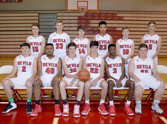 2018-2019 SOUTH FULTON HIGH SCHOOL RED DEVILS BASKETBALL TEAM – This year's Red Devils basketball team members include seated, left to right, Eli Carlisle, sophomore, Jalen Cross, sophomore, Rider Whitehead, sophomore, Brock Brown, sophomore, Dashun Bradshaw, senior and Jaden Knott, sophomore; back row, left to right, Aaron Dildine, sophomore, Bryce McFarland, sophomore, Kylan Jackson, freshman, Blake Johnson, senior, Drew Barclay, sophomore and Beau Britt, sophomore. Head Coach is Pete Angelos. (Photo by Benita Fuzzell)