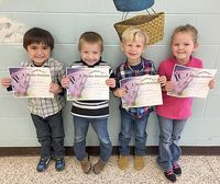SFES PERFECT ATTENDANCE – These South Fulton Elementary students in PreK achieved perfect attendance during the previous grading period. They are, left to right, William Rivera, Jase Long, Cruz Sowell, and Heavenleigh Nance. (Photo submitted)