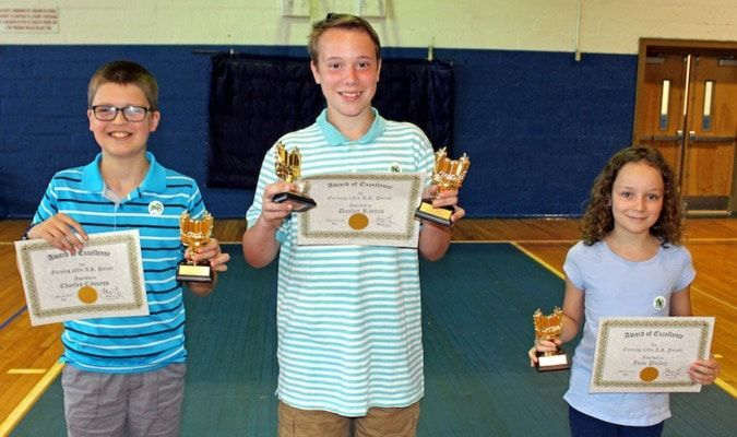 Pictured are the top three AR Readers at Carr Elementary in Fulton: Charlie Cavness, Daylen Reeves and Zuzu Pulley with their trophies. (Photo submitted)