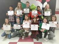 HCES STUDENTS HONORED – As Christmas approaches, Hickman County Elementary School went all Grinch to recognize its Students of the Month for December. The character trait emphasized in December was Obey the Rules, so students tried to help The Grinch understand that following rules is important. Intermediate students of the month selected by teachers include, front row, left to right, Emily Wilson, Myles Roach, Karlie Kimbell, Allie Hoff, BrieAnna Simmons, and Carly Bradley; back row, Blayke Alexander, Kiely Carson, Allyssa Dix, the Grinch, Julianna Hernandez, and Macy Fuller. Not pictured is Audrey Perry. (Photo submitted)
