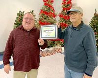 SEVEN YEAR DRIVER – Steve Shelton, a Driver with Fulton County Transit Authority for seven years was recognized and honored at the awards banquet, by FCTA Executive Director Kenney Etherton. (Photo submitted.)