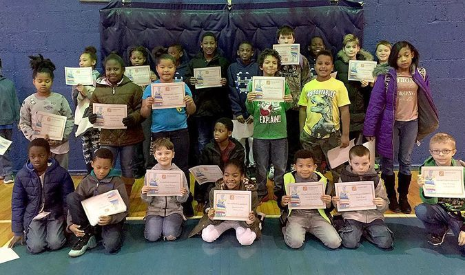 CARR ACCELERATED READER CLUB – Winners with 10 points in the Carr Elementary in Fulton AR Readers Club were, front row, left to right, Anthony Ross, Dereon Scaife, Chays Warner, Jenesis Ingram, Ravon Bradshaw, Tyler Rogers, Tyler Webster; middle row, J'La Logwood, Keirra Taylor, Raven Bradshaw, Jalen Daniels, Javarious Gholson, Elijah Ware, Reginae Caldwell; and back row, Kaiden Mouton, Kassie Lannom, Niasia Kinney, Jamal Martin, Vincent Mons, Jamar Martin, Joseph Mathias, Jeremiah Savage, Harold Brown, and Corbin Fulcher. (Photo submitted)