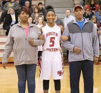 MS LADY RED DEVIL EIGHTH GRADE NIGHT – Tolesha Mason and her parents Shontae Naul and Tollie Mason, were among those honored during the Eight Grade Girls Basketball players' recognition last week.