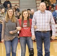 MS LADY DEVILS HONORED – South Fulton Middle School girls' basketball player Cayce Campbell and her parents, Jennifer Cook and Terry Campbell were among players recognized during South Fulton's basketball eighth grade night ceremonies last week.