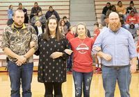 LADY RED DEVILS RECOGNIZED – South Fulton Middle School basketball player Kaleigh Richert and her parents, Dustin Walker, Jennifer Walker and Mr. Richert, were recognized during SFMS Basketball Eighth Grade Night ceremonies last week.