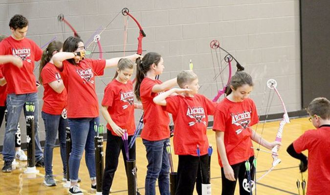 Pictured are some members of the Hickman County Middle School Archery team during a recent competition. (Photo submitted)