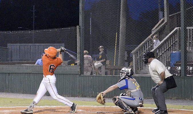 Fulton Railroader Matt Higgins from Bellarmine University takes a swing at bat. (Photo by Jake Clapper)
