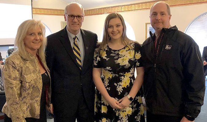 Senior Lexy Riddle addressed members of the MSU Board of Regents. Pictured with Riddle are MSU Board of Regents Vice-Chair Lisa Rudolph, newly elected MSU President Bob Jackson, and Superintendent Casey Henderson. (Photo submitted)