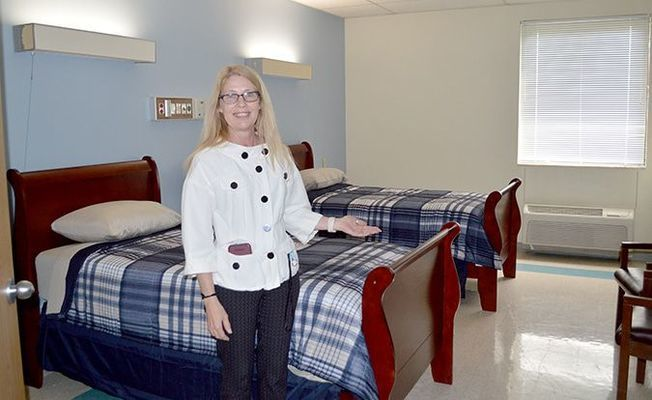 CREATING CHANGES – Shirley Jankowski, Phd, MBA, NHA, CDP is the Program Director for Changes Rehabilitation, the rehab facility now located in the former location of Parkway Regional Hospital in Fulton. The opening of the 60 bed center is expected to take place in mid to late Summer. Jankowski is shown in one of the recently renovated residential rooms at the facility. (Photo by Benita Fuzzell.)