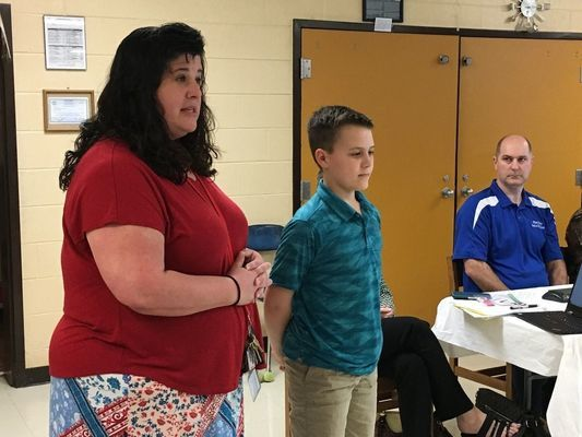 GEOGRAPHY GREATNESS -- South Fulton Elementary Principal Laura Pitts introduced SFES student Gentry Wright, the school's geography bee winner, who competed at the state level, to members of the Obion County Board of Education Monday night, meeting at SFES.