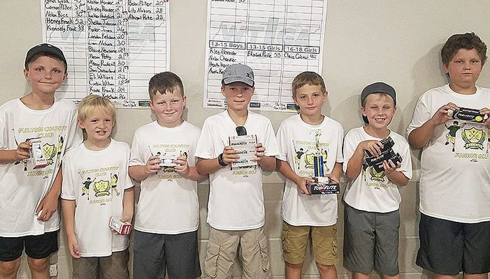 JUNIOR GOLF WINNERS AT FULTON COUNTRY CLUB – Winners in the 7-9 boys' age group were, left to right,Tucker Hutchins, third; Mason Petty, third; Shelton Johnson, third; Landon Ketchum, second; Corbin Wilson, first; Hudson Barnes, second; and Sam Sutherland, third. (Photo submitted)