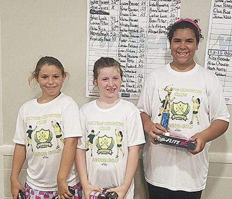 JUNIOR GOLF WINNERS AT FULTON COUNTRY CLUB – Winners in the 7-9 girls' age group were, left to right, Avery Faulkner, third; Lyla Burnett, second; and Behr Miller, first. Lyla and Behr tied, with Behr winning a putt off in four holes. (Photo submitted)