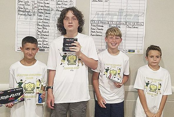 JUNIOR GOLF WINNERS AT FULTON COUNTRY CLUB – Winners in the 10-12 boys' were, left to right, Drake Jones, first; Linus Pulley, second; Jackson Webb, third; and Clark Rice, fourth. (Photo submitted)