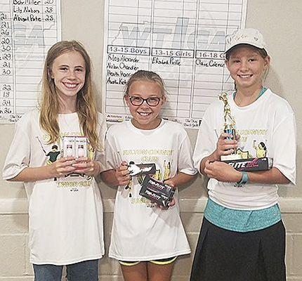 JUNIOR GOLF WINNERS AT FULTON COUNTRY CLUB – Winners in the 10-12 girls' age group were, left to right, Alyssa Nanney, third; Piper Lusk, second; and Brooke Ketchum, first. (Photo submitted)