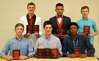 SFHS RED DEVILS BASKETBALL TEAM MEMBERS RECOGNIZED – Members of the South Fulton High School 2018-2019 Red Devils basketball team were presented awards during the basketball awards banquet held Monday night at SFHS. Award winners included front, Beau Britt, Most Improved Defensive Player, Brock Brown, Best Free Throw Percentage, Best Offensive Player, Best Rebounder, Best 2 Point Percentage, Dashun Bradshaw, Most Steals, 1,000 Point Club, back, Bryce McFarland, Most Improved Offensive Player, Most Improved Rebounder, Blake Johnson, Academic Award, Best Defensive Player, Most Assists, Drew Barclay, 110% Award. (Photo by Jake Clapper.)