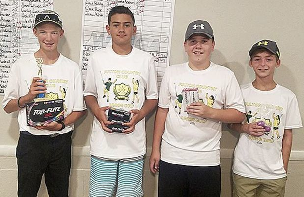JUNIOR GOLF WINNERS AT FULTON COUNTRY CLUB – Winners in the 13-15 age group for boys were, left to right, Austin Ketchum, first; Nolan Chandler, second; Riley Alexander, third; and Heath Harris, fourth. (Photo submitted)