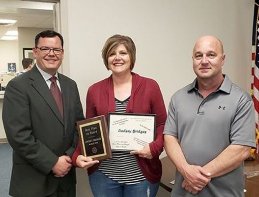 MARCH BEST PILOT ON BOARD – Lindsey Bridges, Food Services director at Fulton County Schools, was named the March Best Pilot on Board during the April School Board meeting April 18. (Photo by Barbara Atwill)