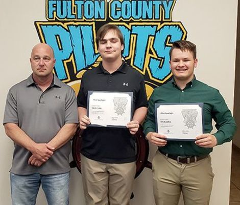 GATTON ACADEMY BOUND – Fulton County High School has two students to attend Gatton Academy at Western Kentucky University during the 2019-20 school year. Three students were interviewed and two accepted into the program. Pictured, from left, are School Board Chairman Rob Garrigan, Caleb Fields, and Caleb Collins, during the Board of Education meeting April 18. (Photo by Barbara Atwill)