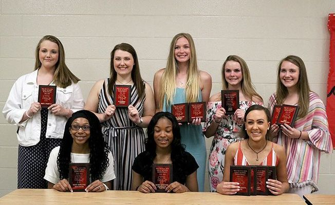 LADY RED DEVILS' HONORED – Members of the South Fulton High School Lady Red Devils 2018-2019 basketball team received recognition during the April 22 Basketball Awards Banquet held at South Fulton High School. Award winners included front, Nece Quinn, Most Improved Rebounder, CaShayah McClerkin, Most Improved Defensive Player, Amber Lemon Best 3 Point Percentage, Best Defensive Player, Best Offensive Player and Most Steals, back, Sophia Hodges, Best 2 Point Percentage, Erin McDaniel, Academic Award, Allison Murphy, Best Rebounder, Most Improved Offensive Player, Marli Buchanan, Most Assists, Sophia McMinn, 110% Award and Best Free Throw Percentage. (Photo by Jake Clapper.)