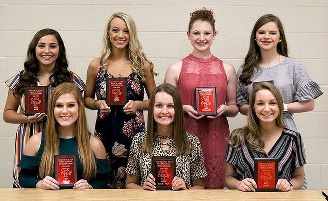 SOUTH FULTON HIGH SCHOOL 2018-2019 CHEERLEADER AWARDS PRESENTED – Members of the South Fulton High School cheerleaders were recognized during Monday night's Basketball Awards Banquet. Among those honored were front, left to right, Alexis Brown, 110% Award, Karlee Meadows, Best Back Spot, Carly Beth Rodgers, Best Jumps; back, Carly Robertson, Academic Award and Best Base, Valerie Whitten, Best Flyer, Claudia Colston, Best Gymnast and Morgan Stubblefield, Most Improved. (Photo by Jake Clapper.)