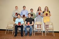 SFHS 10th GRADE ACADEMIC TOP 10 – Students in 10th grade at South Fulton High School were recognized for inclusion in their class academic Top 10 during the banquet held at Buck's Celebration Center. Among those honored were Maleigh Hill, Bailie Lester, Jacob Lilly and John McConnell; seated, Johnathan Morris, Lukas Moss, Garrett Slaughter, Kellie Swift, Jhems Wallace, and Brian Barclay. (Photo by Benita Fuzzell)