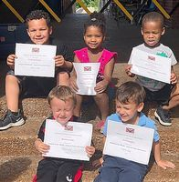 HCES STUDENTS OF THE MONTH – Hickman County Elementary School recently recognized its Students of the Month for May. The character trait emphasized in May was You Control Your Own Future. Preschool students selected by teachers include, back row, left to right, Graham Harper, Kentaysia Copper, Brycson Gray; front row, Matthew Hill and Jax Draughn. Not pictured is Braelynn Williams. (Photo submitted)