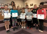 MAY STUDENTS OF THE MONTH AT HCES – Hickman County Elementary School recently recognized its Students of the Month for May. The character trait emphasized in May was You Control Your Own Future. Primary students chosen by teachers as HCES Students of the Month include, left to right, Aleeya Fontano, Rebecca Freeman, Maddox Stairs, Bella Lemke, Eli Cruse, Carson Fulcher, Bryce Siwinski, and Nyiah Powell. Pictured with the students is Tonya Brockwell, HCES guidance counselor, who is retiring at the end of the year. (Photo submitted)